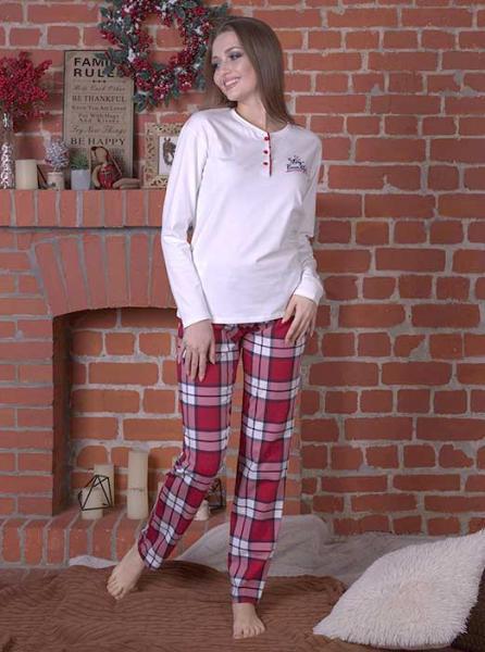 Пижама женская с брюками в клетку