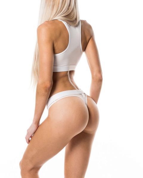 """Женский комплект нижнего белья """"Тройка. Белый"""" (топ + трусики стринги 2 шт) размер S, M, L, XL"""