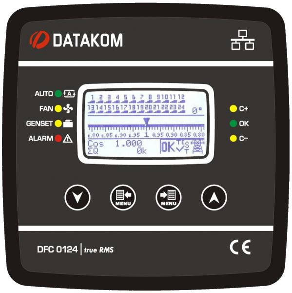 DATAKOM DFC-0124 Контроллер компенсации реактивной мощностиr, 128x64 ч/б дисплей,144x144mm, 24 шага + RS485 + SVC