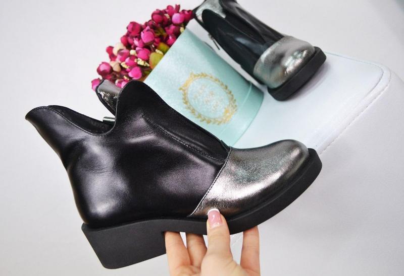 Ботинки Луна цвет- Черный и никель, Нат.Кожа