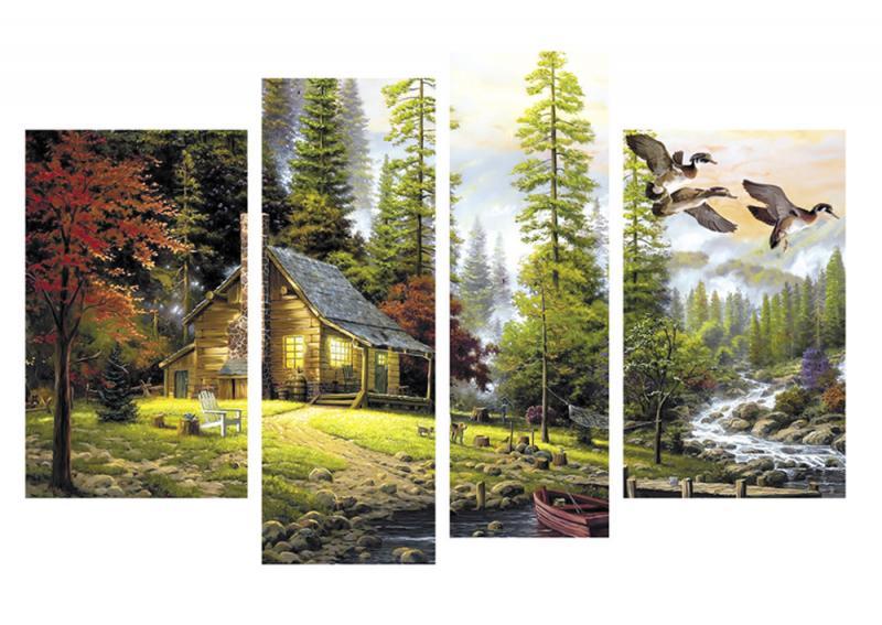 Модульная картина Декор Карпаты 110х70 см Избушка (M4-k347-1)