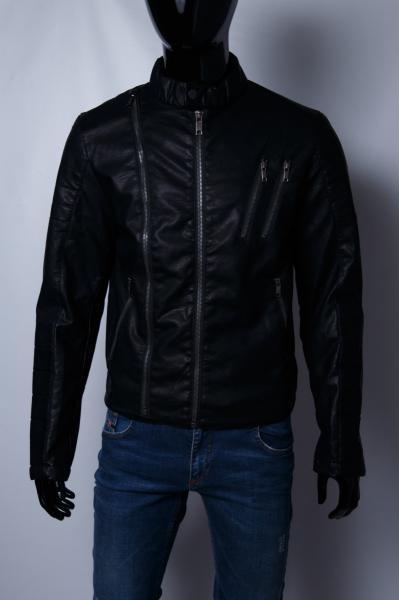 Куртка мужская демисезонная кожзам GS 067741 черная реплика