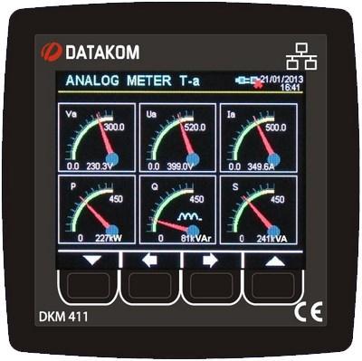 """DATAKOM DKM-411 Анализатор электрической сети, 96x96mm, 3.5"""" цветной TFT дисплей, Ethernet, USB/Host, USB/Device, RS485, RS232, 2-дискретных входа, 2-дискретных выхода с источником питания переменного тока"""