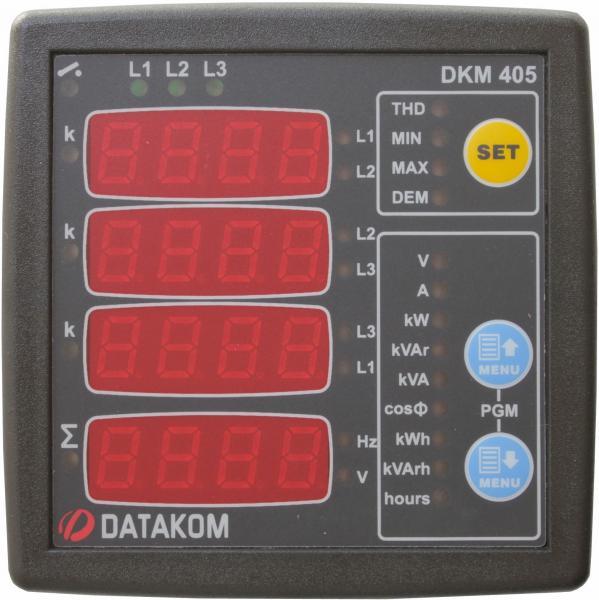 DATAKOM DKM-405 Анализатор электросети, 170-275V питание, 96x96mm, доп вход/выход