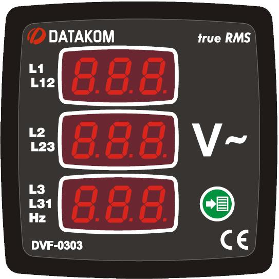 DATAKOM DVF-0303 Вольтметр-частотомер, 3 фазы, 72x72mm, 3 дисплея