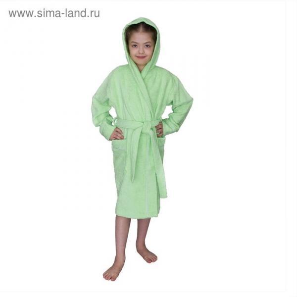 Халат махровый для девочки капюшон+кант, цв. салатовый, рост 152, хл100%