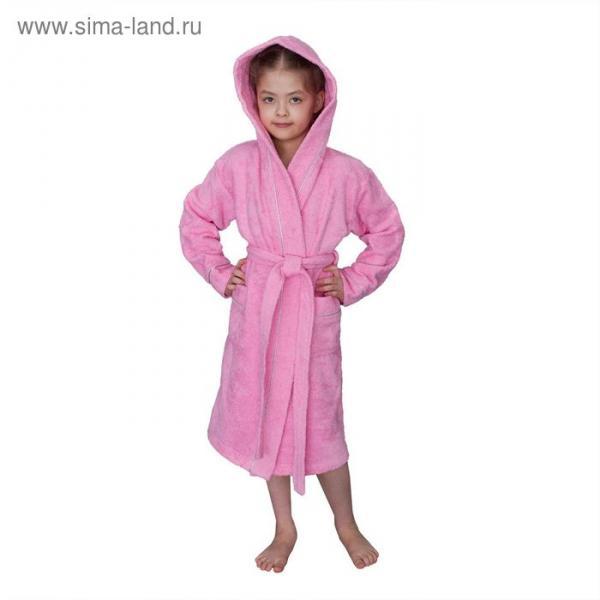 Халат махровый для девочки капюшон+кант, цв. розовый, рост 116, хл100%