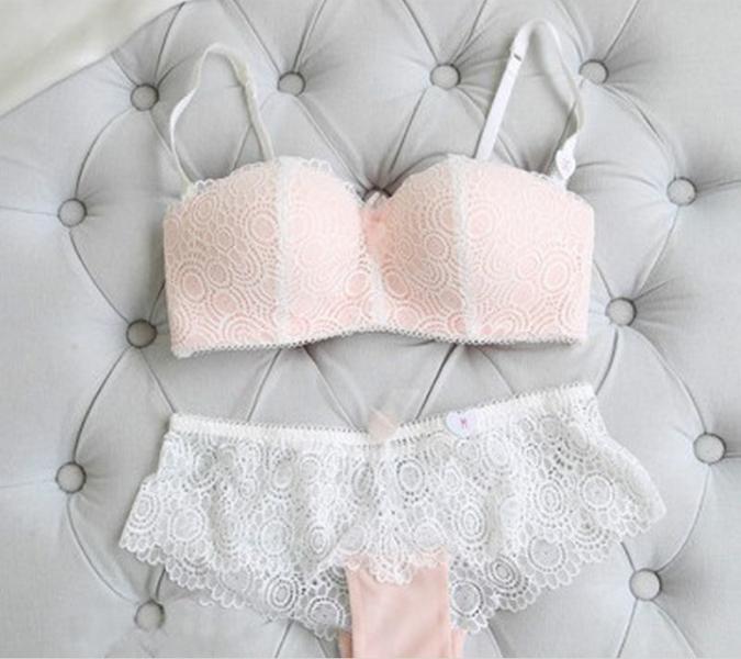 """Комплект женского нижнего белья """"Белый с персиковым""""  с бесшовным верхом размер 75В, 80В, 85В"""