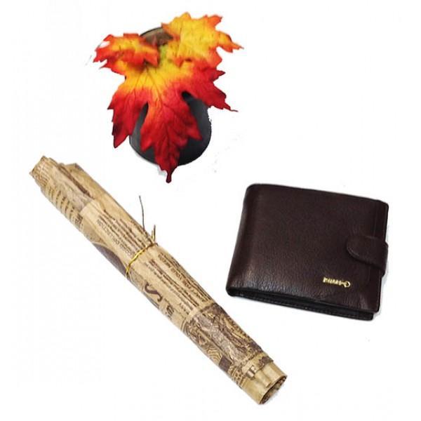 Фото  Мужской полуторный кошелек Zilli  Артикул 1307 коричневый