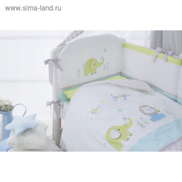 Комплект в кроватку «Джунгли», 4 предмета, цвет белый, сатин
