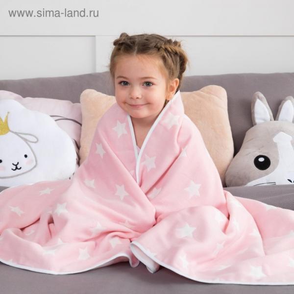 Одеяло детское «Крошка Я» Розовые звёзды 110×140, жаккард, 100% хлопок
