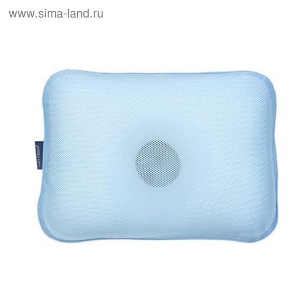 Подушка детская анатомическая с чехлом, размер М, цвет голубой