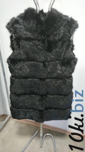 Чорний подовжений жилет з хутра кроля на гачках 48р. купить в Ивано-Франковске - Женский меховой жилет