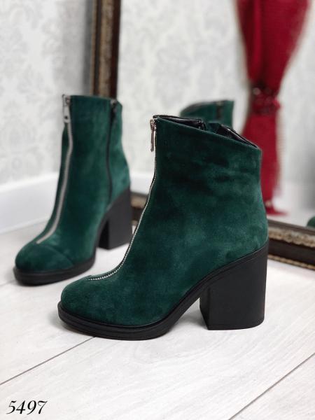 Ботинки демисезон зелёный замш молния спереди.