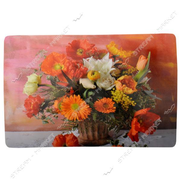 Подставка под горячее Цветы 27х42см 6шт