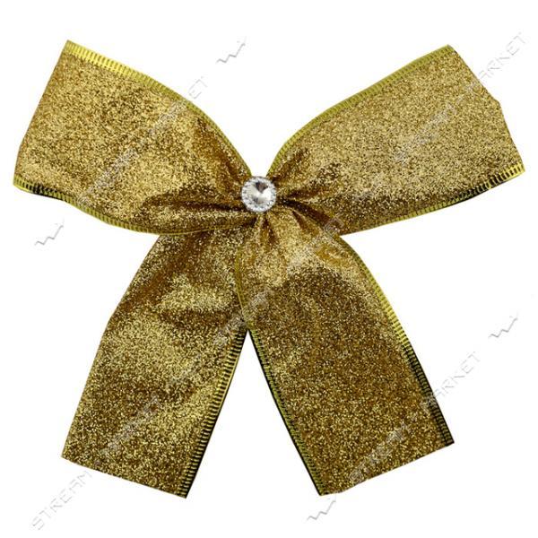 Новогоднее украшение бантик Металлик Золото 10шт 130х90мм