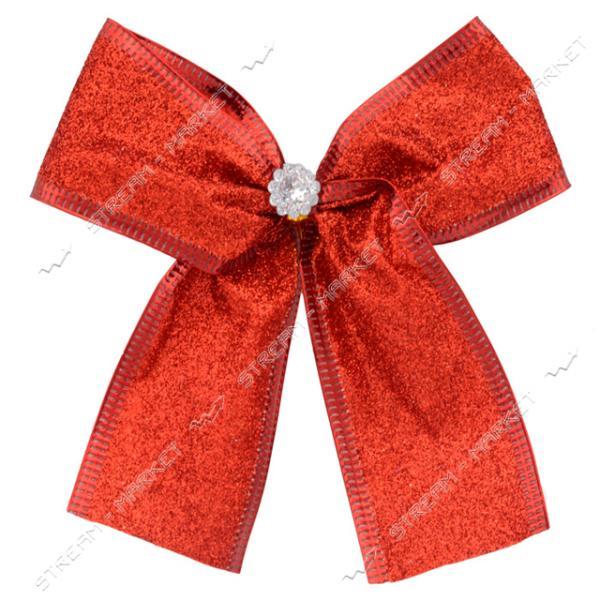 Новогоднее украшение бантик Металлик Красный 10шт 150х70мм
