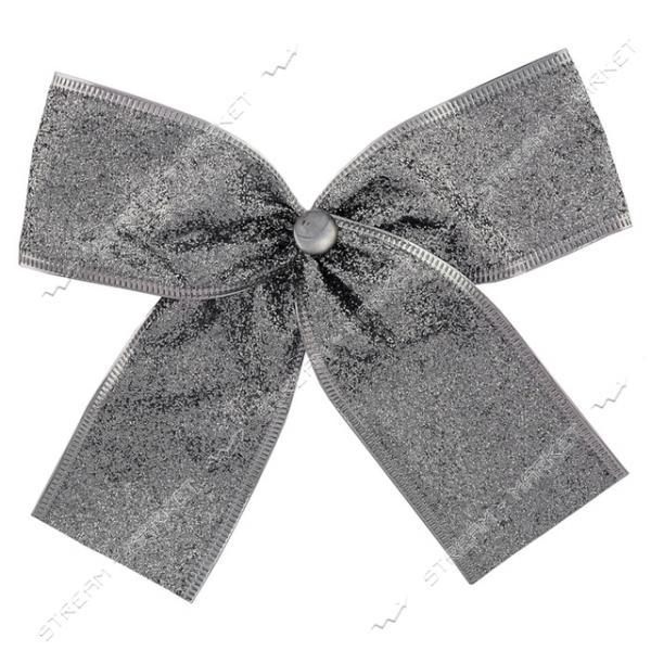 Новогоднее украшение бантик Металлик Серебро 10шт 130х90мм