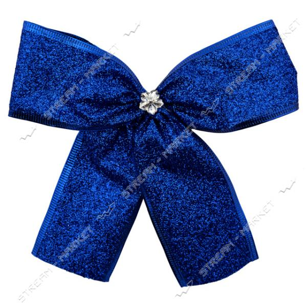 Новогоднее украшение бантик Металлик синий 10шт 150х150мм