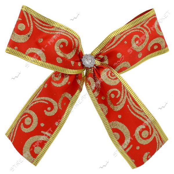 Новогоднее украшение бантик Орнамент красный 10шт 130х110мм