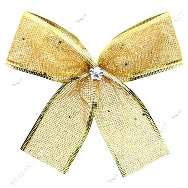 Новогоднее украшение бантик Сетка Золото 10шт 140х110мм