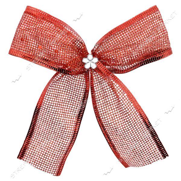 Новогоднее украшение бантик Сетка Красный 10шт 110х80мм