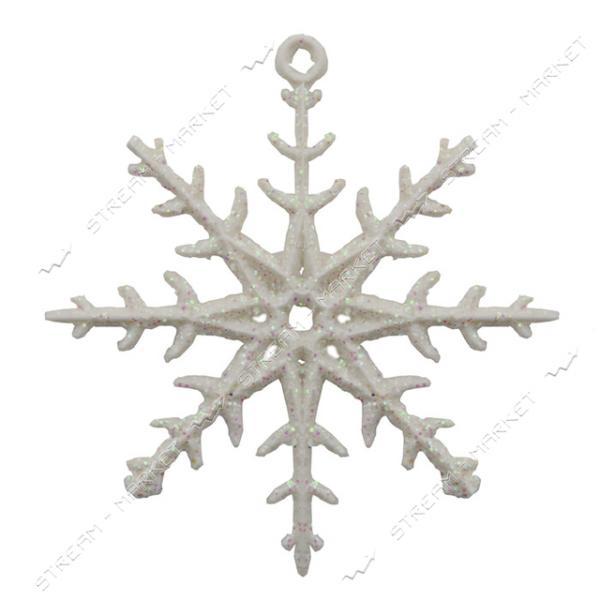 Набор новогодних пластиковых игрушек Снежинка d=6см, 10шт, белая с блестками