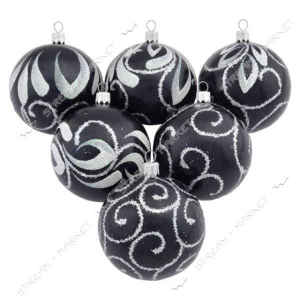 Набор новогодних пластиковых игрушек 'Черная жемчужина' d=8см, 6шт, цвет черный