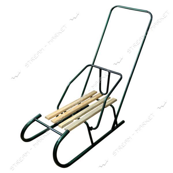 Санки 'Баран' труба сиденье дерево с толкателем (ручка прямая)