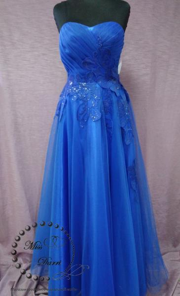 Вечернее платье выпускное платье на корсете синее (электрик)