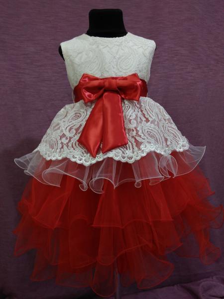 Платье детское нарядное с многослойной юбкой на 4-6 лет красное с молочным