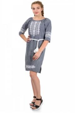 Платье женское с вышивкой лен-габардин