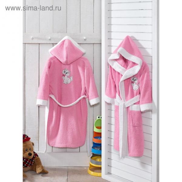 Халат детский BABY с капюшоном, 3-4 года, цвет розовый