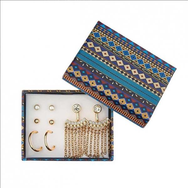 Фото мода и стиль, серьги Набор сережек «Бохо»: серьги (4 пары), сменные оправы (1 пара)