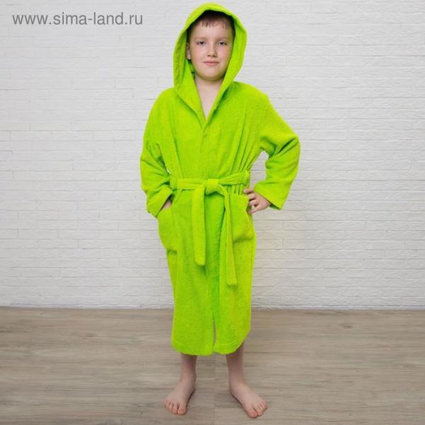 Халат махровый детский, размер 34, цвет салатовый, 340 г/м2 хл.100% с AIRO