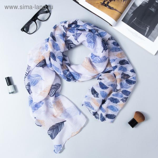 """Парео женское """"Перья"""", размер 60 х 180 см, цвет голубой"""