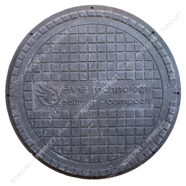 Люк канализационный полимерпесчанный черный 1 т (диаметр крышки ф-620мм, высота люка h-50мм)