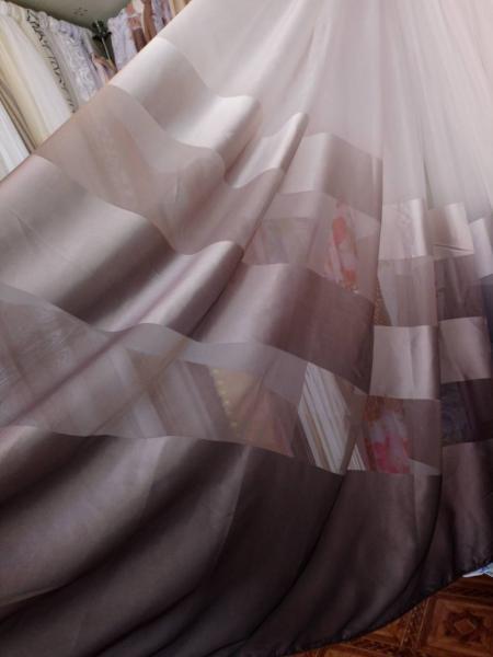 Тюль с переходом коричневая