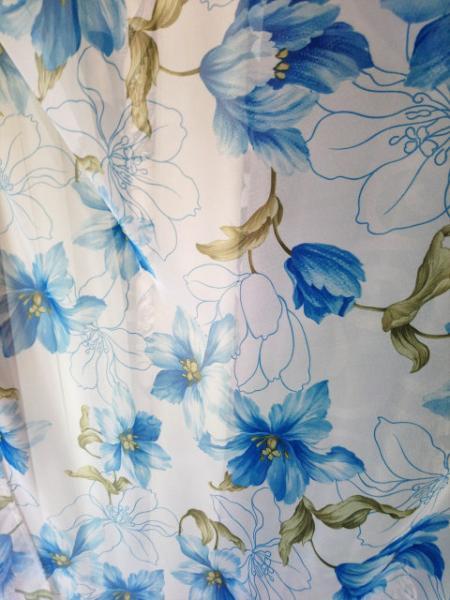Тюль синие цветы