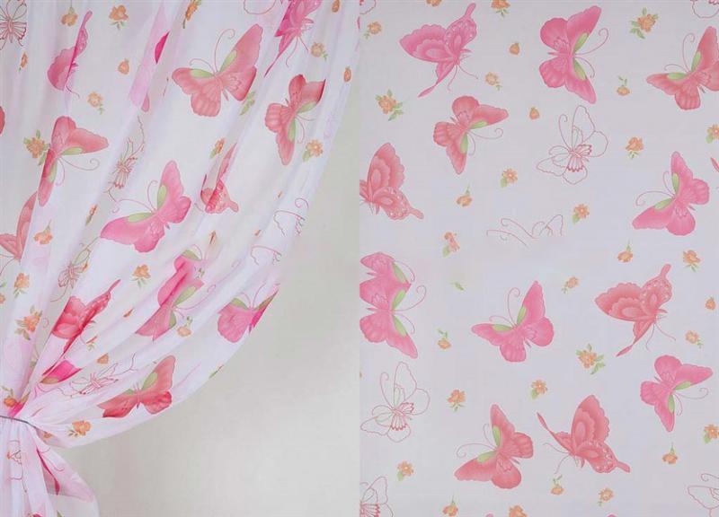 Тюль розовые бабочки