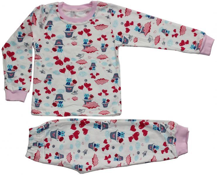 Пижама теплая для девочки, рост 116 см, молочная, кошки