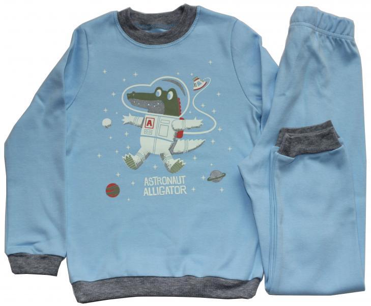 Пижама для мальчика, рост 116 см, голубая, крокодил