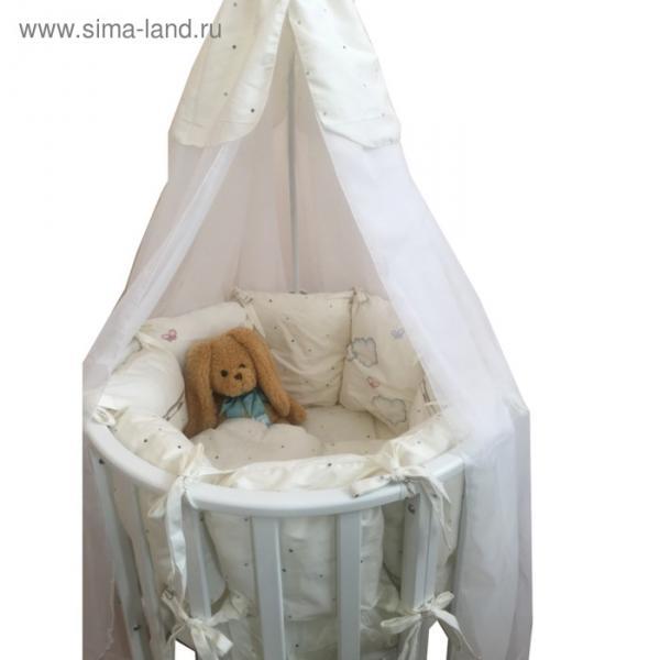 Комплект в круглую кроватку LITTLE ANGELS, 21 предмет, сатин