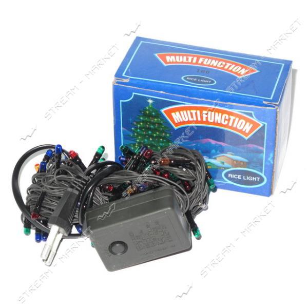 Гирлянда черная 180 ламп, разноцветные огни с регулировкой