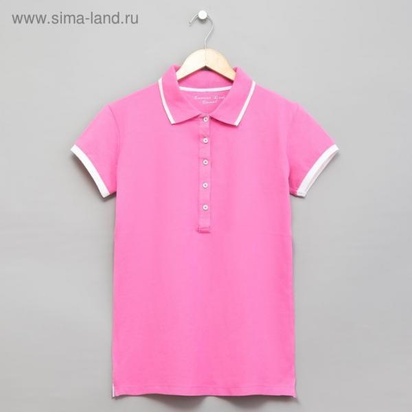 Футболка женская поло цвет розовый, р-р 54