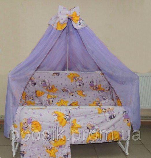 """Детский постельный комплект фиолетовый """"Мишки на луне"""" Bonna 9 в 1"""