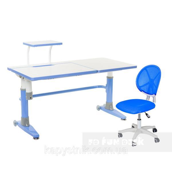 Комплект подростковая парта для школы Ballare Blue + детское кресло для школьника LST1 Blue FunDesk