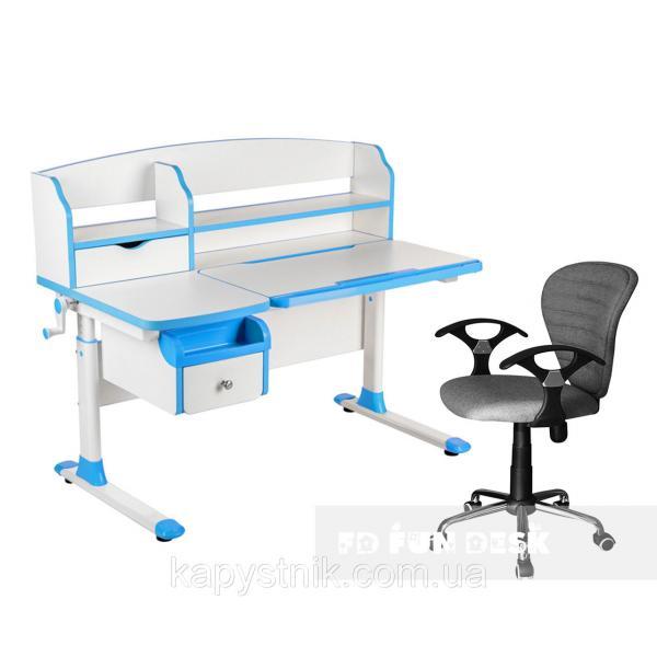 Комплект парта для подростка Sognare Blue + детское компьютерное кресло LST7 Grey FunDesk