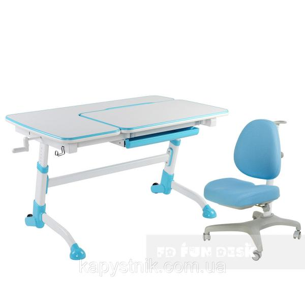 Комплект подростковая парта для школы AmareBlue + ортопедическое кресло Bello I Blue FunDesk