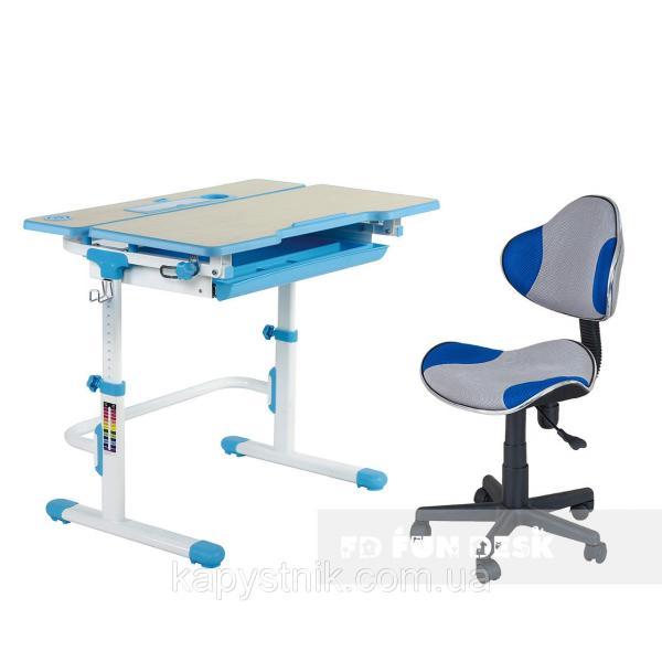 Комплект растущая парта Lavoro L Blue + детское кресло для школьника LST3 Blue-Grey FunDesk